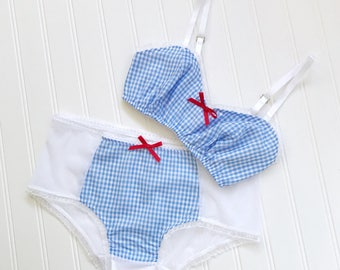 By The Sea Nautical Print Sweetheart Bra and Panty set