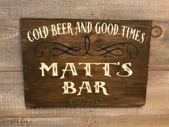 Rustic Man Cave Sign : Wood bar signs rustic sign custom