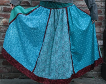Amazing Long Blue Six Pannel Skirt with Stripes on the sides and 8 Laces on the inner side