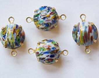Vintage White Millefiori Glass Stones in 2 Loop Brass Settings rnd004C2