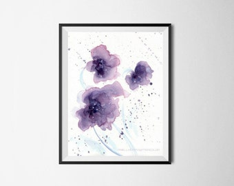 Purple Flower, Watercolor Print, Purple watercolor, Purple print, Violet flower, Watercolor abstract Painting, Wall Decor, Poster minimalism