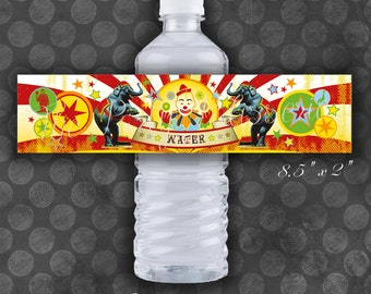 Circus Birthday Water Bottle Labels / Vintage / Instant Download / Digital File / Printable