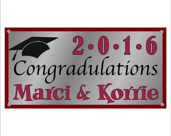 Vinyl Banner Sign, 2' x 4' 2016 Graduation Banner with Grommets