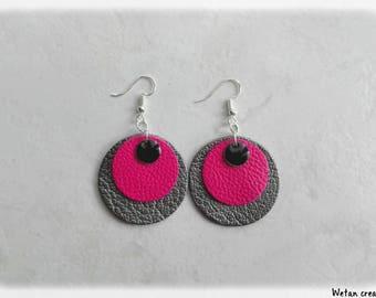 Earrings leather-Fuchsia/silver/sequins earrings enamel black