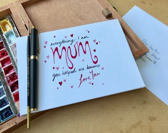 Love Hearts Personalised Hand Painted Mother's Day Card