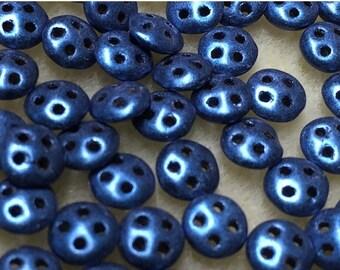 ON SALE Clearance Blue Suede CzechMates QuadraLentil Czech Glass Beads 6mm 60 pcs