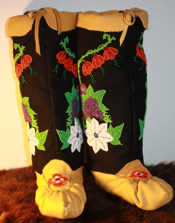Native American Ojibwe Style Floral Beaded Mukluks