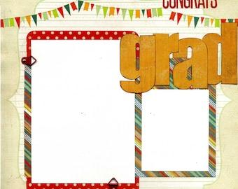 12x12 Premade Scrapbook Page - Congrats Grad