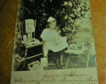 Antique RPPC 1905 Photo Portrait Little Girl In Grape Arbor With Family Photos Old Child At Play Genre Photo Al Fresco Photo PC Portrait