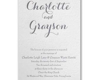 Typography Style Letterpress Wedding Invitation