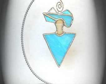 Turquoise Stained Glass Peaceful Spirit Sun Catcher Ornament