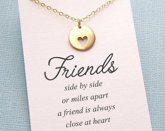 Best Friend Gift | Heart Necklace, Friendship Necklace, Friends Friendship Gift, Best Friend Necklace, Birthday Gift, Sister Gift |F4