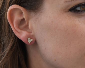 Holidays gifts-Christmas gifts-Tiny Stud Earrings-Gold Zirconia Earrings-White Gold Earrings-Stud Earrings-Women Earrings -Birthday gift