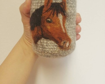 Horse felted can cozy