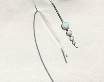 Lifou 'Glory of the Sea' sterling silver hair band with fire opals
