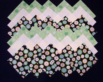 GREEN & YELLOW FLOWERS Print 5 inch Squares, 100% Cotton Prewashed, Quilt Block Fabric (#D/88A)