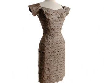 Vintage 60s silk taffeta eyelet dress/ brown 1960s mod dress/ multi layer dress/ 60s cocktail dress/ 60s party dress/ scallop edges