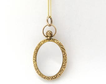Antique 9ct Gold Locket Pendant |  Victorian 9K Oval Glass Photo Locket Necklace