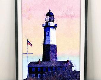 Lighthouse Painting, Ocean Art, Lighthouse Print, Lighthouse Decor, Home Decor, Wall Art Decor, New York Marine, Coastal Wall Art (N413)