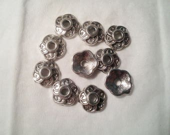 Set of 10 antique silver - 1 125 caps