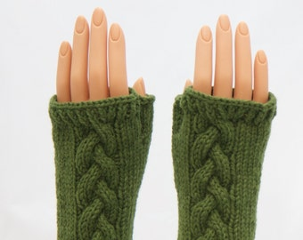 Olive Green Wool Arm Warmer Fingerless Mitts or Gloves