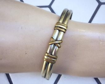 Boho Silver Tone and Brass Cuff Bracelet