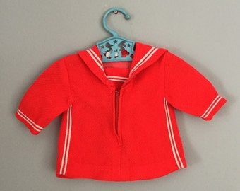 Vintage Bright Red Sailor Baby Shirt Size 3- 9 months