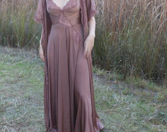 CHARMED Vintage 1970's Olga Set Rare Slip Dress Dressing Robe Lace Night Gown Lingerie Tawny Maxi Length Intimates Size Small