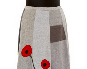 T-Skirt | upcycled, recycled, appliqué grey t-shirt skirt with poppies + pocket