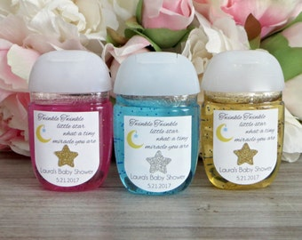 Twinkle Twinkle Little Star baby shower hand sanitizer favor label, Twinkle twinkle little star first birthday hand sanitizer label