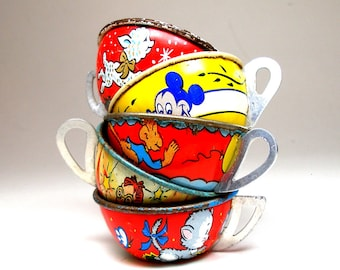50s Tin Toy Tea cups, Mickey, Minnie, monkey, Little Lamb, Instant Collection. Primary colors.