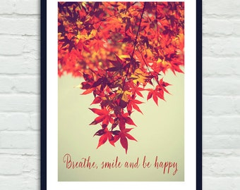 Tree branch art, red maple leaf photography, orange rusty red sage wall decor, fall foliage, inspirational art, vertical Autumn nature print