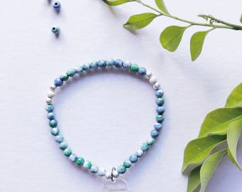 Natural Blue and Green Beaded Bracelet w/ Silver Stardust - 4mm // Stretchable // Handmade