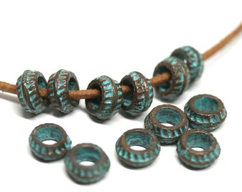 7mm copper rondelle beads Green patina round spacer beads for leather cord Rondels hole 3mm - 12pc - F171