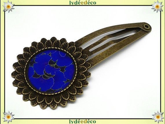 Hair clip wedding retro resin hair clip Ginko Ultramarine Japan black brass bronze mothers birthday gift