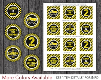"Construction Birthday Cupcake Toppers - Printable Dump Truck Birthday 2"" Cupcake Toppers"