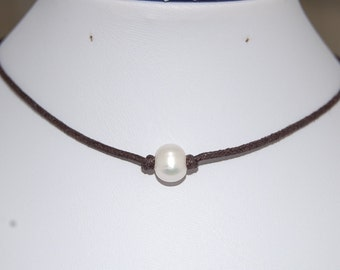 Pearl Choker,Genuine Freshwater Pearl,Pearl Necklace,Choker Necklace,Girl,Chic,Woman,Leather Cord Necklace,Pearl Chocker Necklace,Gift