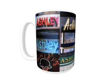 Personalized Coffee Mug featuring the name ASHLEY in photos of signs; Ceramic mug; Unique gift; Coffee cup; Birthday gift; Coffee lover