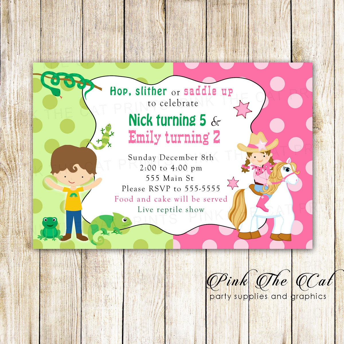 Enchanting Reptile Party Invites Illustration Invitation Card