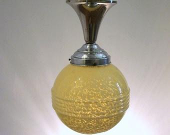 YELLOW Mottled Glass - French Art Deco Pendant Light 1930s-40s - Richly Sculptured Deco Details - Unique Design