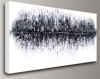 abstract painting Acrylic painting black white wall art home office interior bedroom decor large canvas Oil impasto modern Art Visi x