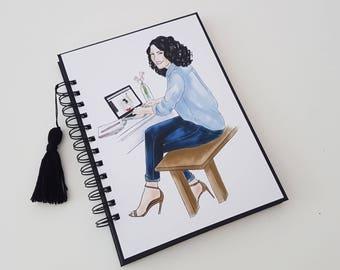 Planner. Planner. Cover. Daily. Diary. Art Journal. Girl. Girl. Watercolor. Watercolor. Scrapbooking. Handmade.
