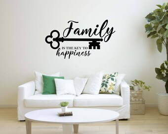 Vinyl Wall Word Decal - Family Is the Key To Happiness - Home Decor - Wall Words