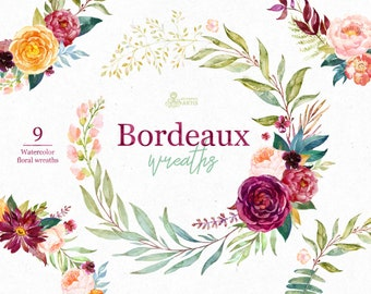 Bordeaux. Wreaths, watercolor floral clipart, burgundy, maroon, purple, bridal, wedding, flowers, peony, marsala, trend, bridal, navy, blush