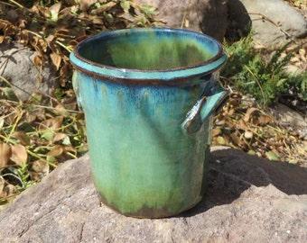 Stoneware Pottery Utensil Holder, Utensil Crock, Kitchen Storage, Spoon Holder, Wheel Thrown Pottery, Pottery Utensile Holder