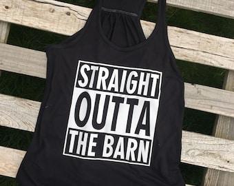 Straight Outta The Barn - Flowy Racerback Tank