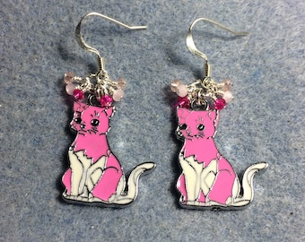 Pink and white enamel cat charm earrings adorned with tiny dangling pink and white Chinese crystal beads.