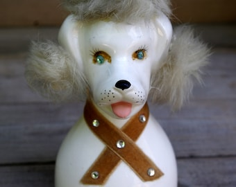 Vintage Kreiss and Co. Poodle Bank with Fur Hair