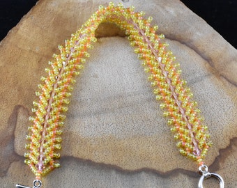 Yellow Orange and Pink Flat Spiral Bracelet