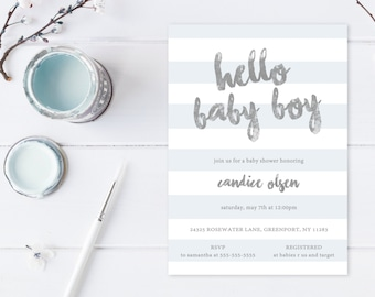 Baby Shower Invitation, Boy Baby Shower Invitation, Blue Baby Shower Invitation, Baby Shower Invites, Boy Baby Shower, Boy Invitations [452]